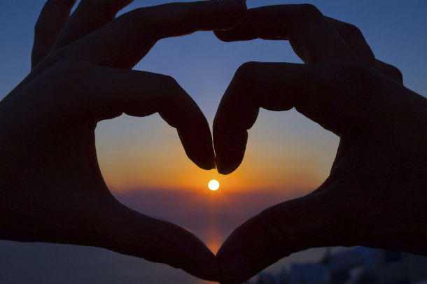 Romantic Sunset Heart