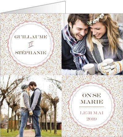 Faire-part de mariage liberty carrés
