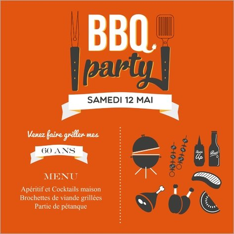 carte d'invitation anniversaire barbecue party Popcarte