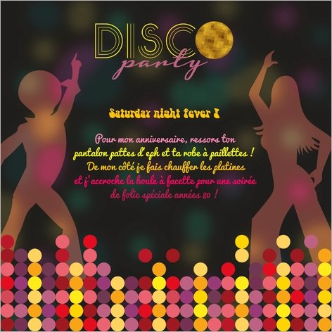 carte d'invitation anniversaire disco Popcarte