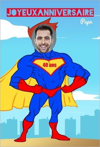 carte d'anniversaire super-héro Popcarte