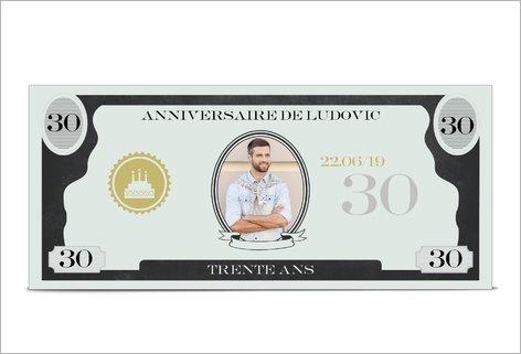 invitation anniversaire billet de banque
