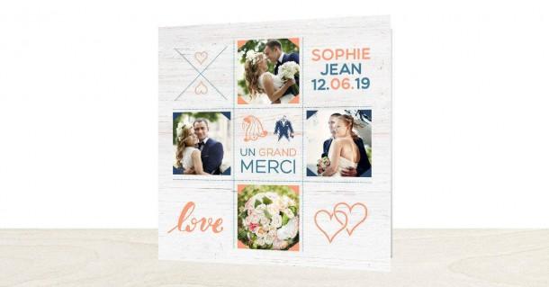 Carte de remerciements mariage créatif Popcarte