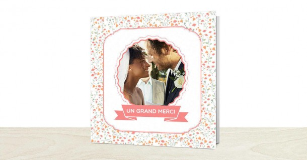 Carte de remerciements mariage liberty