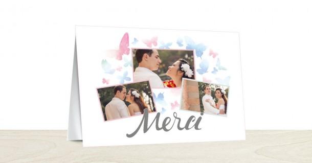 Carte de remerciements mariage papillons Popcarte