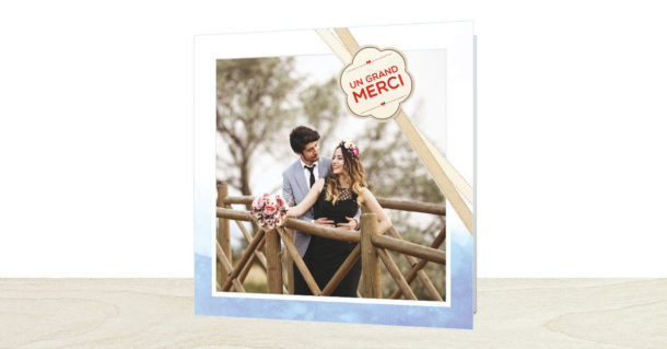 Carte de remerciements mariage ruban