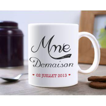 cadeau de mariage mug personnalisé