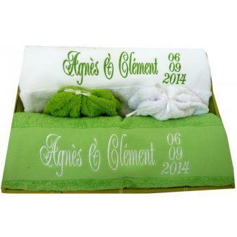 cadeau de mariage serviettes de bain personnalisées