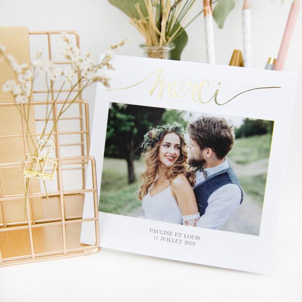 carte remerciement doré mariage